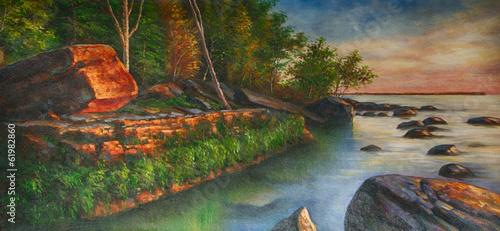 Fotobehang Olieverf Kunstdruk See Steine Landschaft Gemälde Ölgemälde Kunstdruck