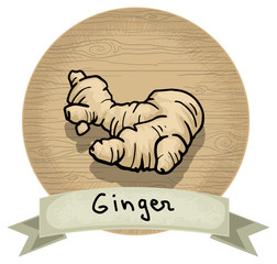 Hand drawn ginger icon, wooden background