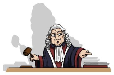 Serious looking judge character,pointing