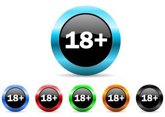 18+ icon vector set