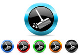broom icon vector set
