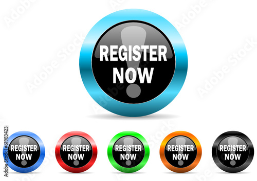 register now icon vector set