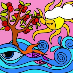 albero di mele nell'oceano