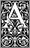 Flowers decorative English alphabet, letter A, Black and White