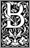 Flowers decorative English alphabet, letter B, Black and White