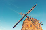windmill in spain with vintage effect