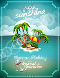 Illustration on a summer holiday theme with paradise island