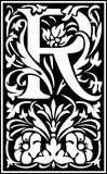Flowers decorative English alphabet, letter R, Black and White