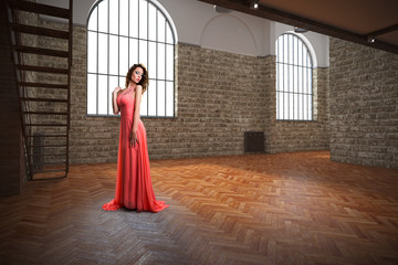 einsame attraktive Frau in leerem Raum