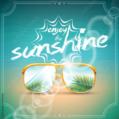 Vector Summer Holiday Design with sunglasses