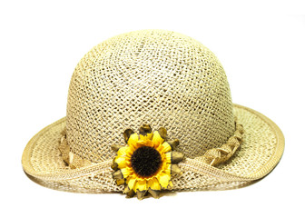 summer straw hat with flower on white background