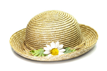 spring straw hat with flower on white background