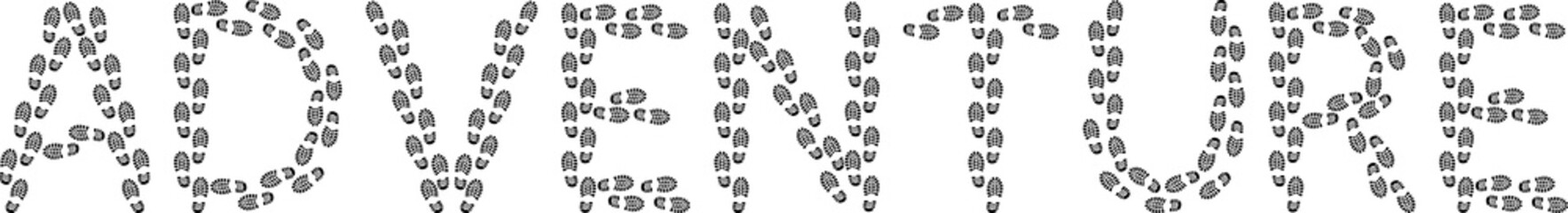 "word ""adventure"" with footprints"