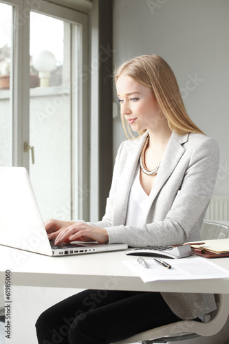 Portrait of beautiful businesswoman working on laptop