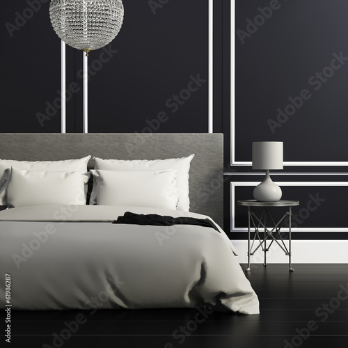 Contemporary elegant luxury elegant black and white bedroom