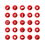 RED VECTOR BUTTON SET (website internet web media icons symbols)