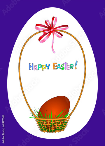 Easter greeting card with red egg in wicker basket