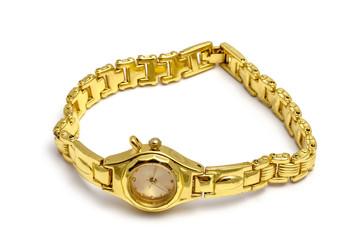 Woman golden wrist watch