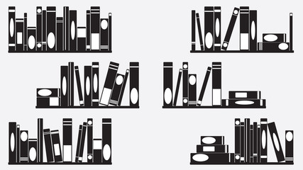 Books on shelves set illustration