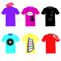t-shirt set on sale color vector