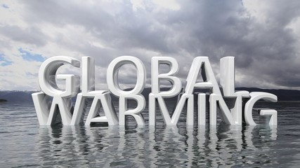 Sinking Global Warming 3D text with nature background