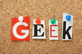 The word Geek on a cork notice board