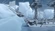 Leinwandbild Motiv Segelschiff gestrandet in der Arktis