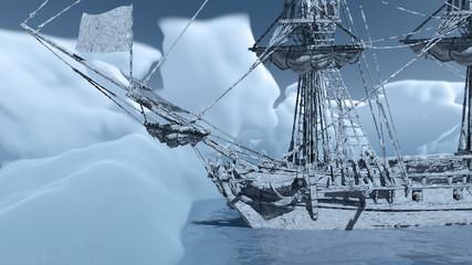 Segelschiff gestrandet in der Arktis