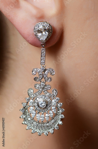 Female ear  in jewelry earrings