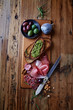 canvas print picture - Mediterranean-Style Antipasto on Wooden Board
