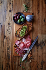 Mediterranean-Style Antipasto on Wooden Board
