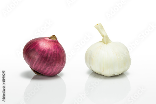 Red onion and garlic