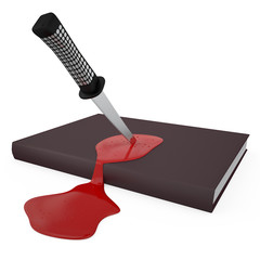 Stabbed book and bleeding, 3D