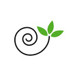 Drawing of a cute snail with green leaves- logo concept