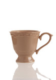 brown coffee cup on white background
