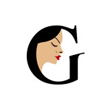 Face in alphabet G- logo for skin tanning or parlor poster
