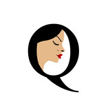 Face in alphabet Q- logo for skin tanning or parlor poster