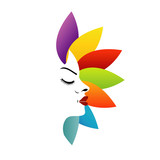 Face with colorful leaves- logo for aromatherapy business