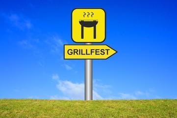 Schild Wegweiser: Grillfest
