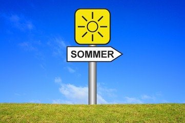 Schild Wegweiser: Sommer