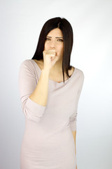 Sic woman coughing in studio