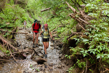 Young people are hiking in deep forest in summertime