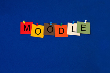 Moodle, sign series for computers, education, internet and techn