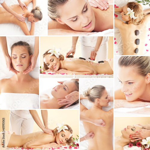 A collage of young women on massage procedures