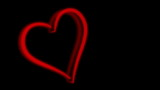 3d rendered heart, blinking as neon lamp
