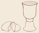 Vector symbols of Communion. Broken bread and wine in bowl