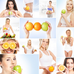 A collage about healthy life and women