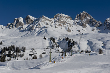 Mountains and Ski Slopes in Passo San Pellegrino