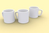 The white cups on isolated background