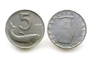 5 Lire Delfino Timone rovesciato 1968 Lira italiana